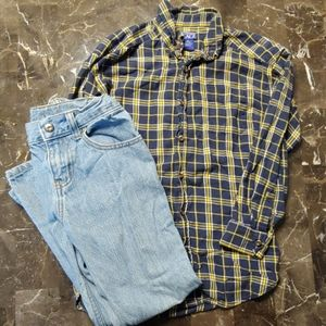 Boys plaid button up shirt and jeans